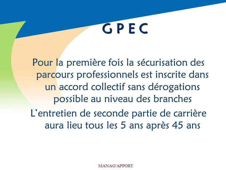 MANAG'APPORT G P E C Pour la première fois la sécurisation des parcours professionnels est inscrite dans un accord collectif sans dérogations possible