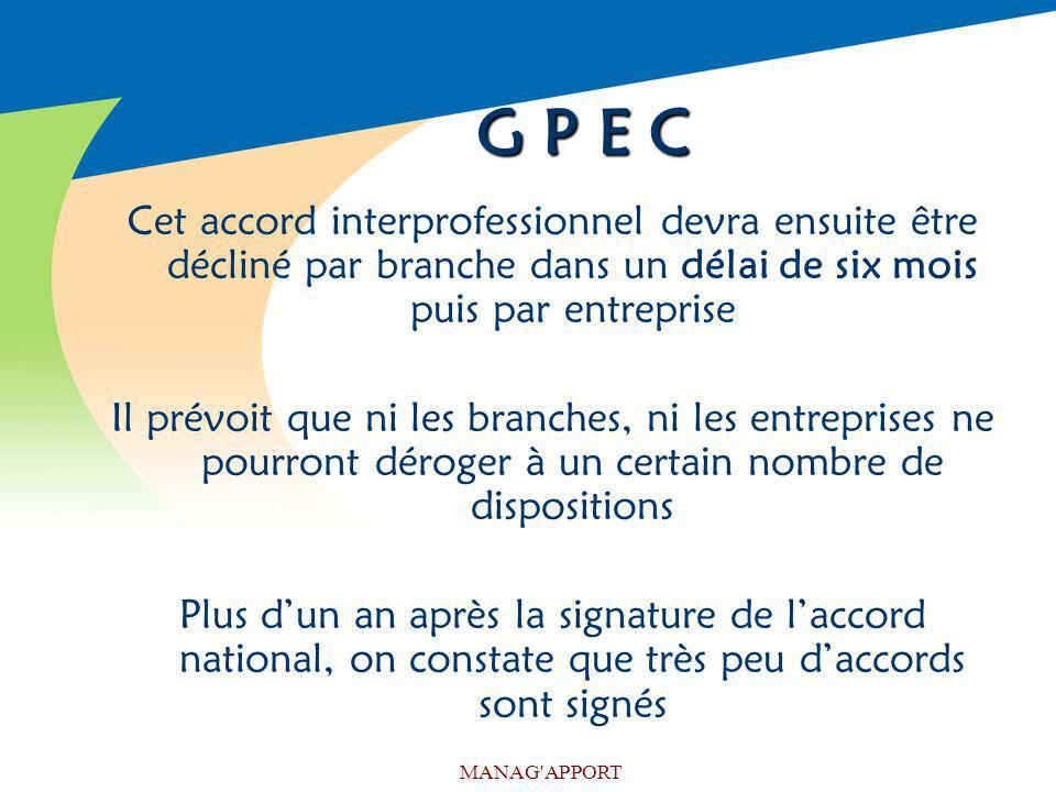 MANAG'APPORT G P E C Cet accord interprofessionnel devra ensuite être décliné par branche dans un délai de six mois puis par entreprise Il prévoit que