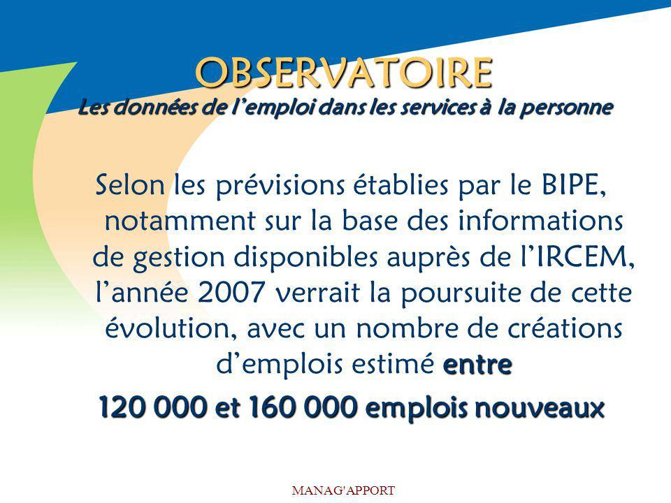 MANAG'APPORT OBSERVATOIRE Les données de lemploi dans les services à la personne entre Selon les prévisions établies par le BIPE, notamment sur la bas