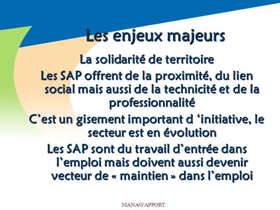 MANAG'APPORT Les enjeux majeurs La solidarité de territoire Les SAP offrent de la proximité, du lien social mais aussi de la technicité et de la profe