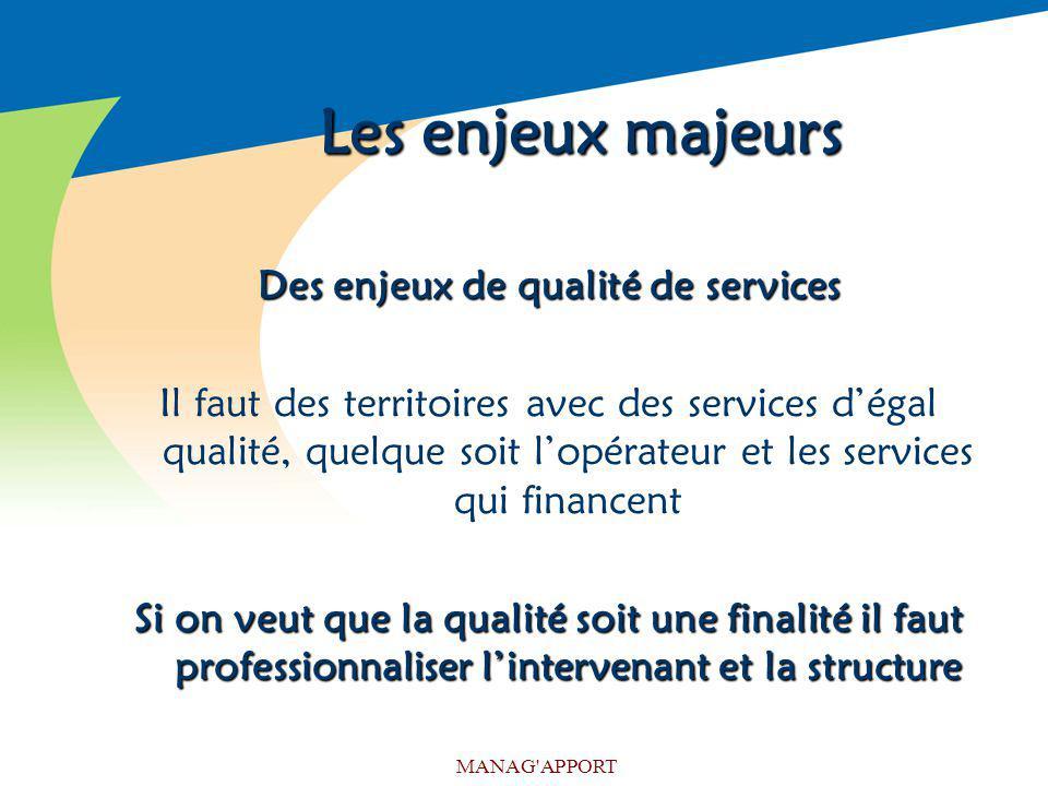 MANAG'APPORT Les enjeux majeurs Des enjeux de qualité de services Il faut des territoires avec des services dégal qualité, quelque soit lopérateur et