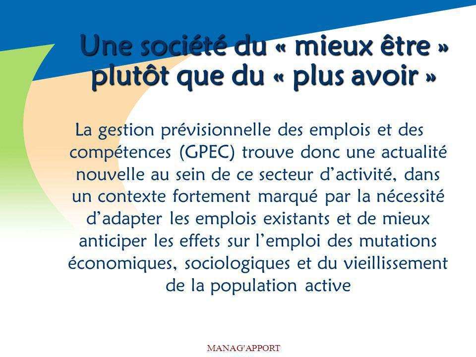 MANAG'APPORT Une société du « mieux être » plutôt que du « plus avoir » La gestion prévisionnelle des emplois et des compétences (GPEC) trouve donc un