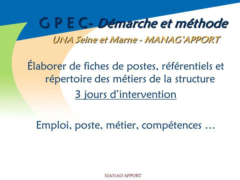 MANAG'APPORT G P E C- Démarche et méthode UNA Seine et Marne - MANAGAPPORT Élaborer de fiches de postes, référentiels et répertoire des métiers de la