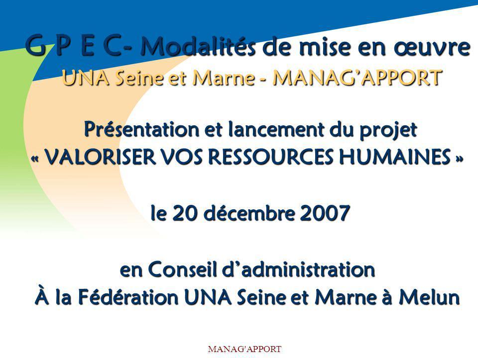 MANAG'APPORT G P E C- Modalités de mise en œuvre UNA Seine et Marne - MANAGAPPORT Présentation et lancement du projet Présentation et lancement du pro