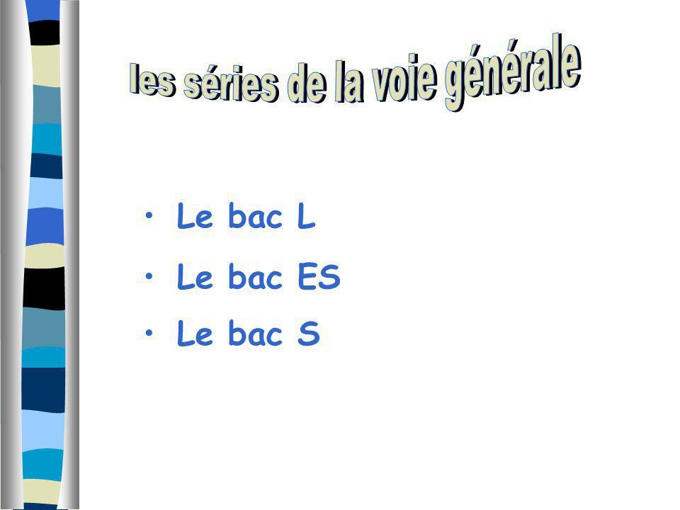Le bac L Le bac ES Le bac S