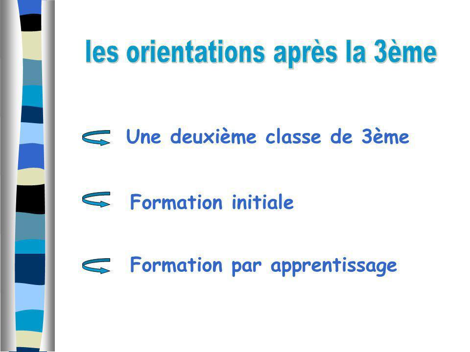 Une deuxième classe de 3ème Formation par apprentissage Formation initiale