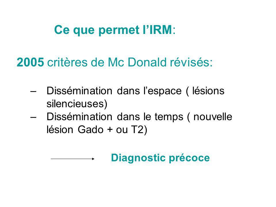 Les critères Ce que permet lIRM: 2005 critères de Mc Donald révisés: –Dissémination dans lespace ( lésions silencieuses) –Dissémination dans le temps ( nouvelle lésion Gado + ou T2) Diagnostic précoce