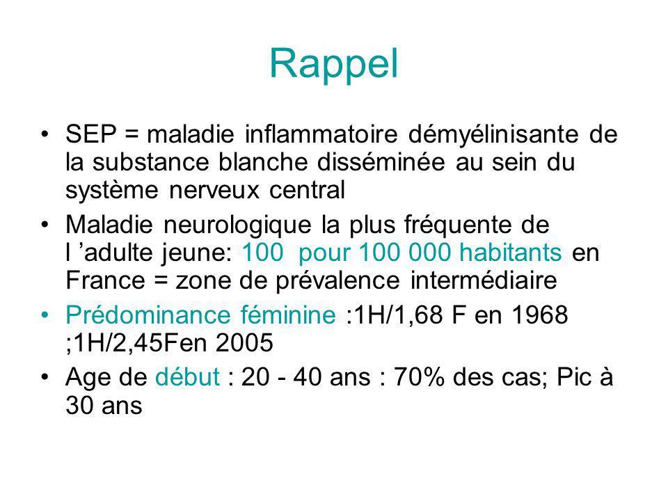 Rappel SEP = maladie inflammatoire démyélinisante de la substance blanche disséminée au sein du système nerveux central Maladie neurologique la plus fréquente de l adulte jeune: 100 pour 100 000 habitants en France = zone de prévalence intermédiaire Prédominance féminine :1H/1,68 F en 1968 ;1H/2,45Fen 2005 Age de début : 20 - 40 ans : 70% des cas; Pic à 30 ans