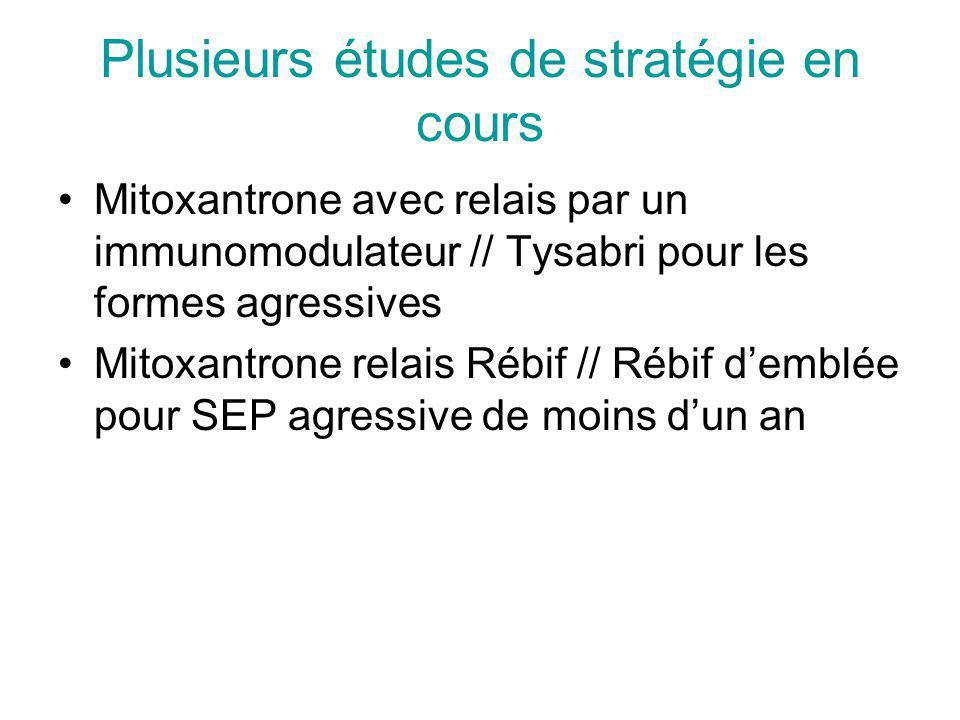 Plusieurs études de stratégie en cours Mitoxantrone avec relais par un immunomodulateur // Tysabri pour les formes agressives Mitoxantrone relais Rébif // Rébif demblée pour SEP agressive de moins dun an