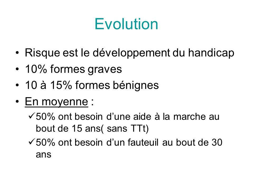 Evolution Risque est le développement du handicap 10% formes graves 10 à 15% formes bénignes En moyenne : 50% ont besoin dune aide à la marche au bout de 15 ans( sans TTt) 50% ont besoin dun fauteuil au bout de 30 ans