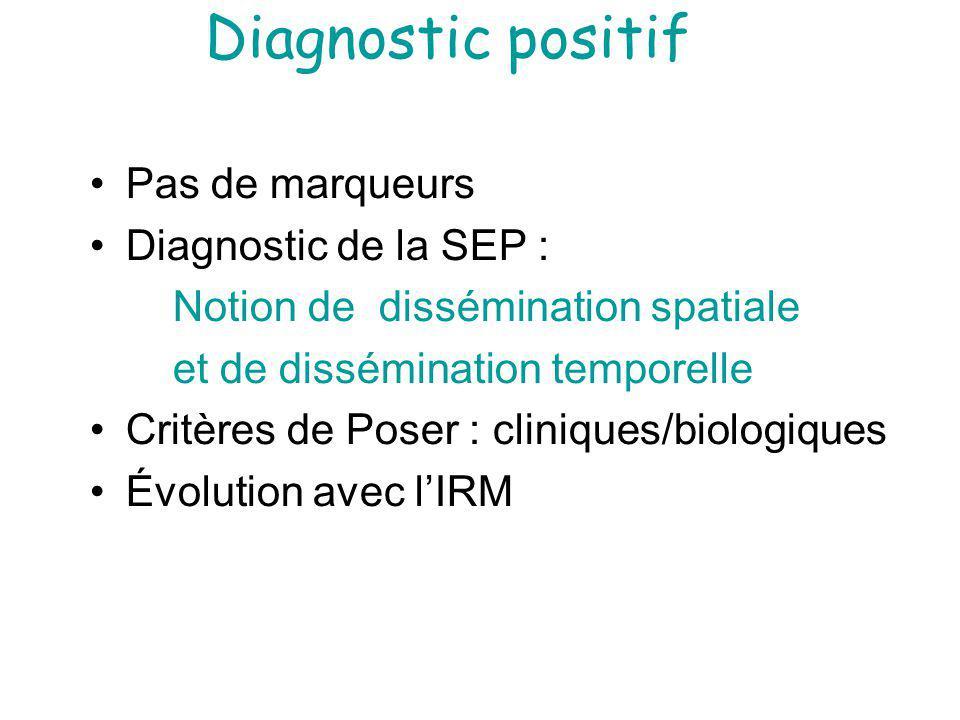 Diagnostic positif Pas de marqueurs Diagnostic de la SEP : Notion de dissémination spatiale et de dissémination temporelle Critères de Poser : cliniques/biologiques Évolution avec lIRM