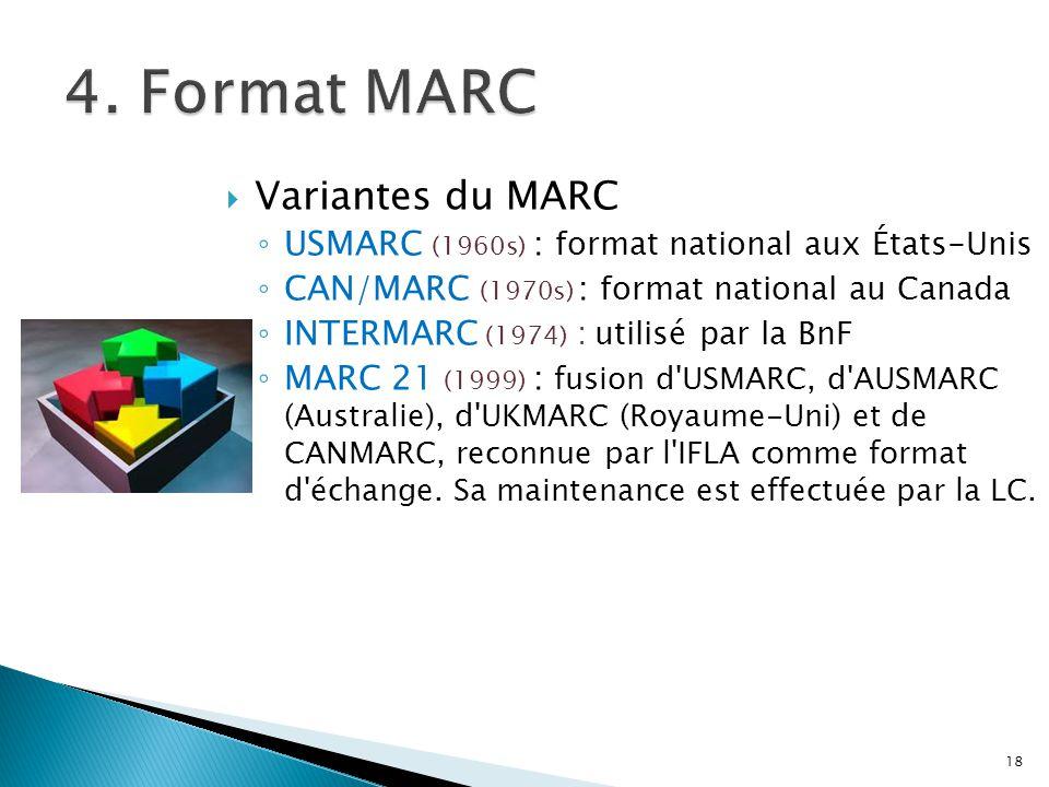 Variantes du MARC USMARC (1960s) : format national aux États-Unis CAN/MARC (1970s) : format national au Canada INTERMARC (1974) : utilisé par la BnF M