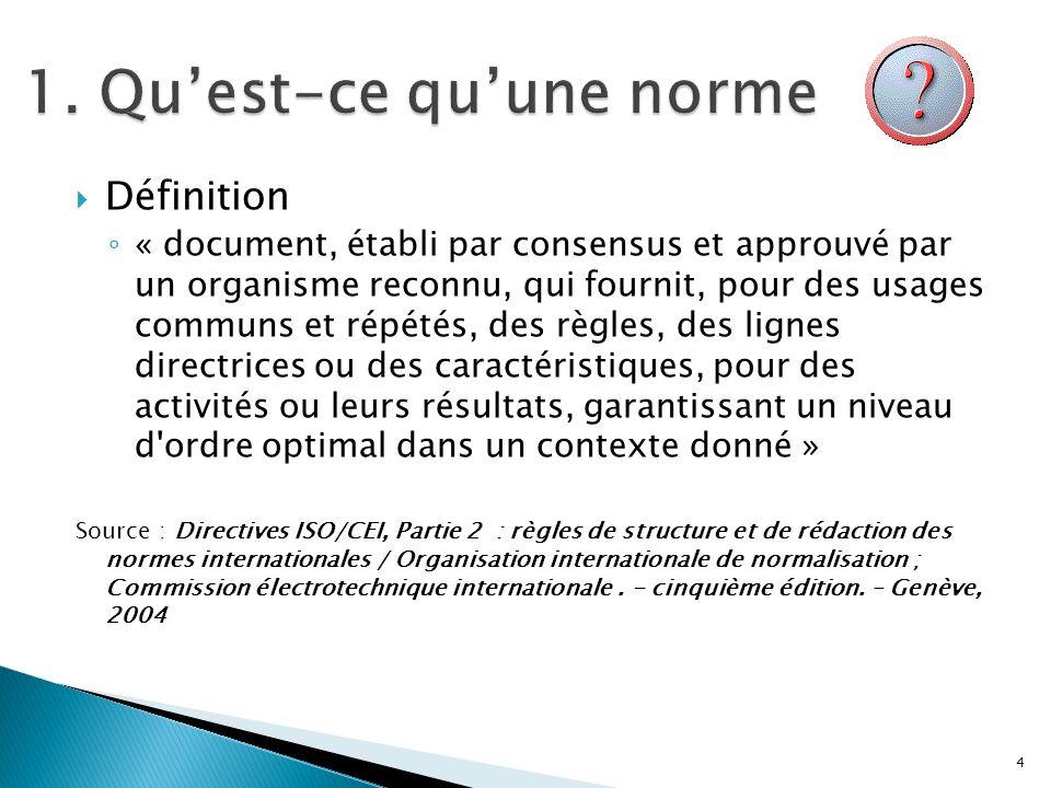 Définition « document, établi par consensus et approuvé par un organisme reconnu, qui fournit, pour des usages communs et répétés, des règles, des lig