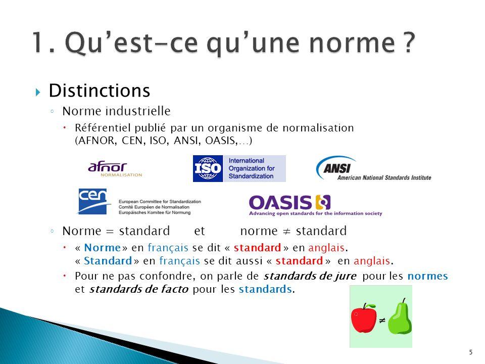 Distinctions Norme industrielle Référentiel publié par un organisme de normalisation (AFNOR, CEN, ISO, ANSI, OASIS,…) Norme = standard et norme standa