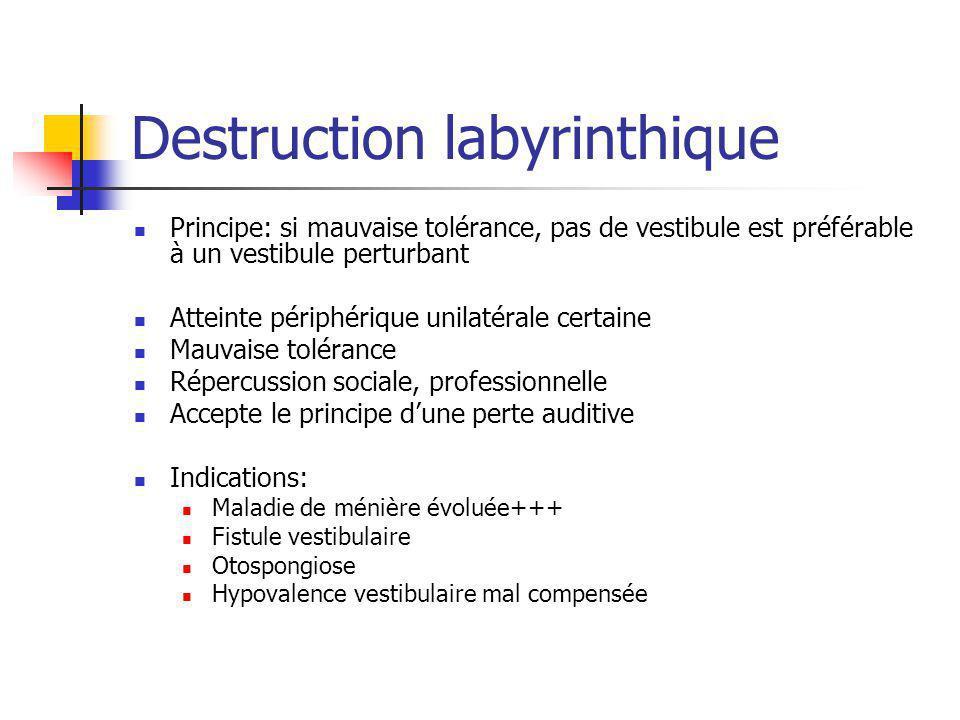 Destruction labyrinthique Principe: si mauvaise tolérance, pas de vestibule est préférable à un vestibule perturbant Atteinte périphérique unilatérale