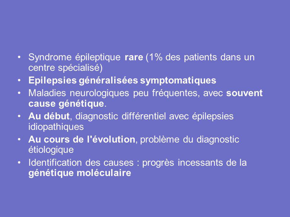 Syndrome épileptique rare (1% des patients dans un centre spécialisé) Epilepsies généralisées symptomatiques Maladies neurologiques peu fréquentes, av