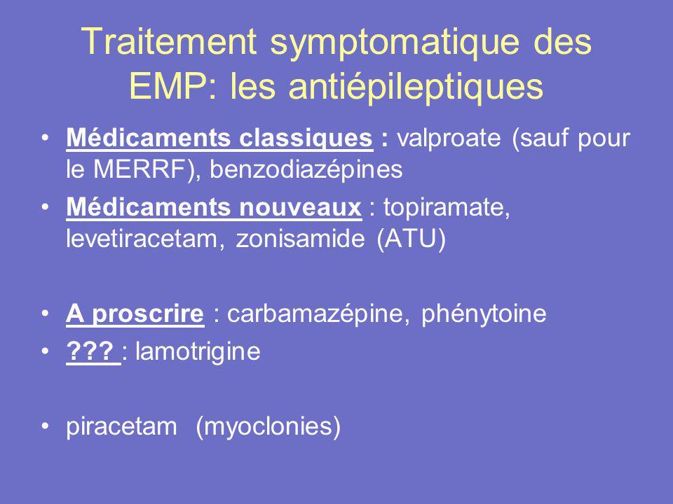 Traitement symptomatique des EMP: les antiépileptiques Médicaments classiques : valproate (sauf pour le MERRF), benzodiazépines Médicaments nouveaux :