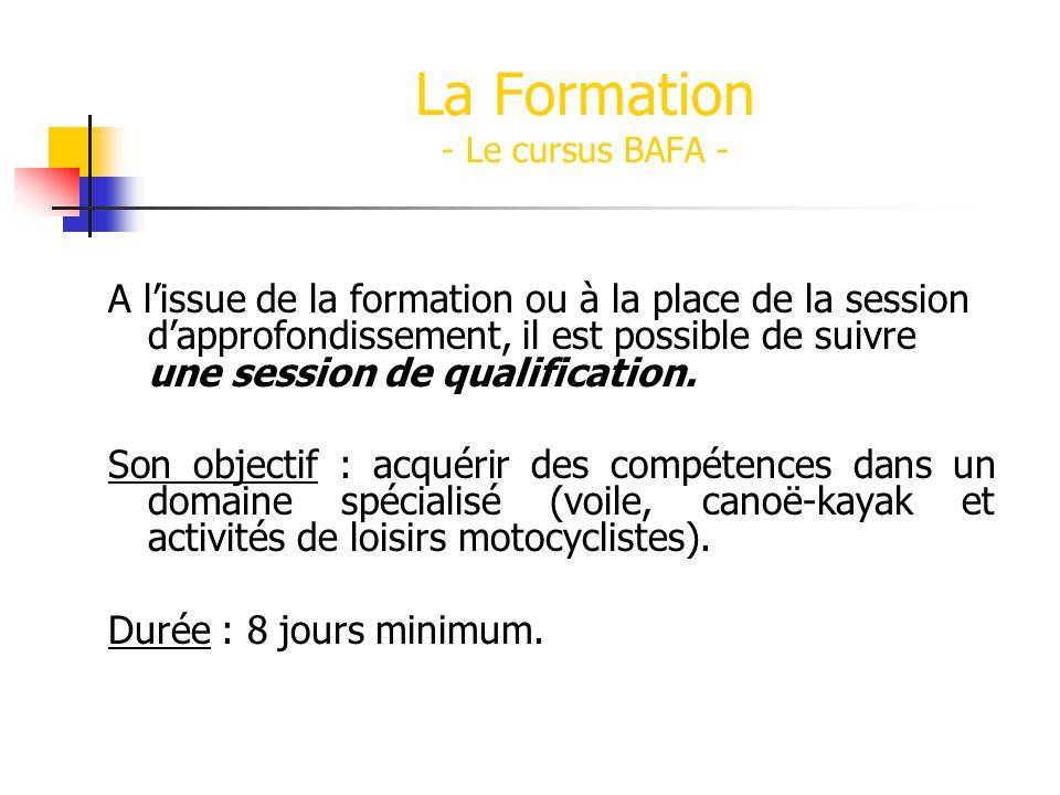 La Formation - Le cursus BAFA - A lissue de la formation ou à la place de la session dapprofondissement, il est possible de suivre une session de qualification.
