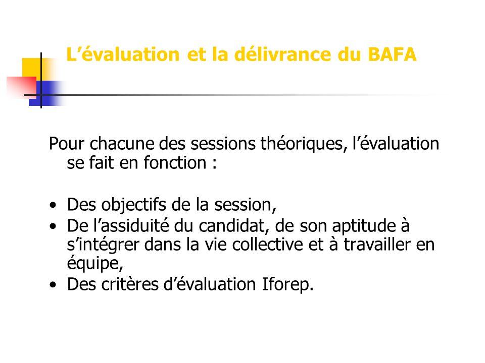 Lévaluation et la délivrance du BAFA Pour chacune des sessions théoriques, lévaluation se fait en fonction : Des objectifs de la session, De lassiduité du candidat, de son aptitude à sintégrer dans la vie collective et à travailler en équipe, Des critères dévaluation Iforep.