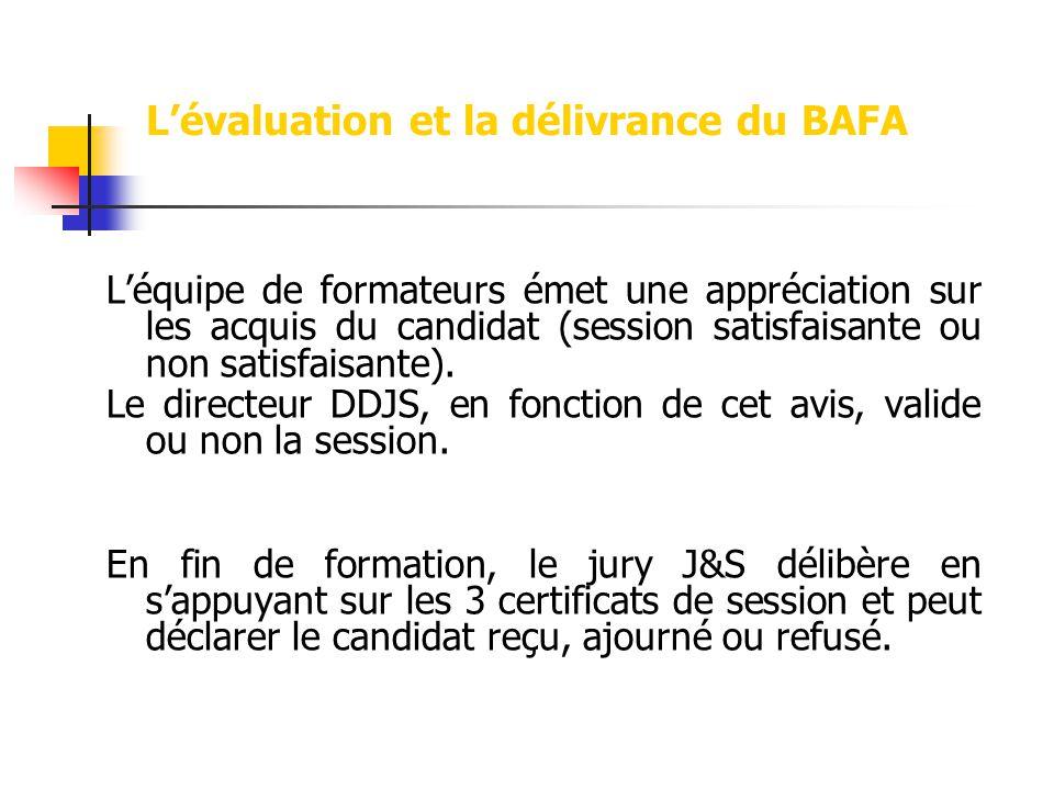 Lévaluation et la délivrance du BAFA Léquipe de formateurs émet une appréciation sur les acquis du candidat (session satisfaisante ou non satisfaisant