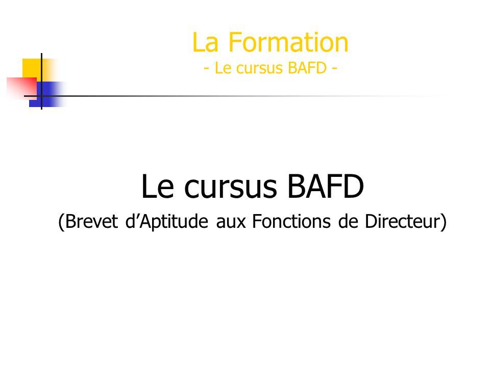 Le cursus BAFD (Brevet dAptitude aux Fonctions de Directeur) La Formation - Le cursus BAFD -