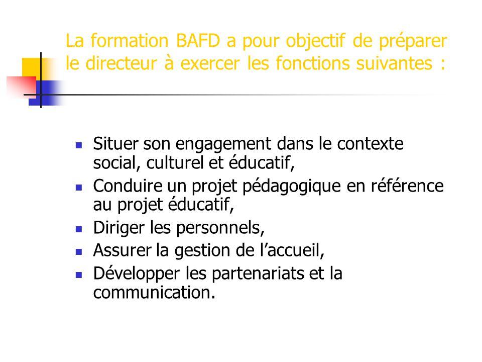 La formation BAFD a pour objectif de préparer le directeur à exercer les fonctions suivantes : Situer son engagement dans le contexte social, culturel