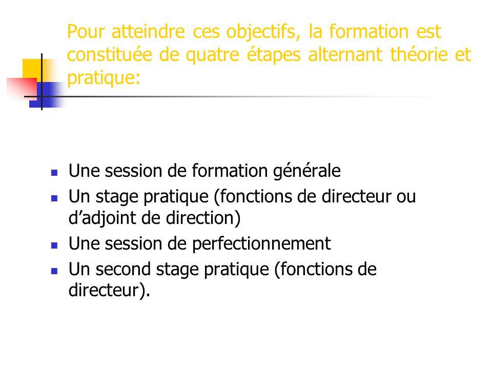 Pour atteindre ces objectifs, la formation est constituée de quatre étapes alternant théorie et pratique: Une session de formation générale Un stage p