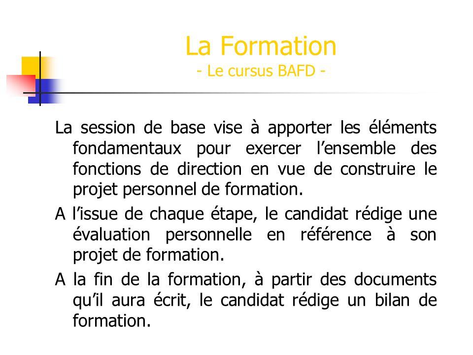 La Formation - Le cursus BAFD - La session de base vise à apporter les éléments fondamentaux pour exercer lensemble des fonctions de direction en vue
