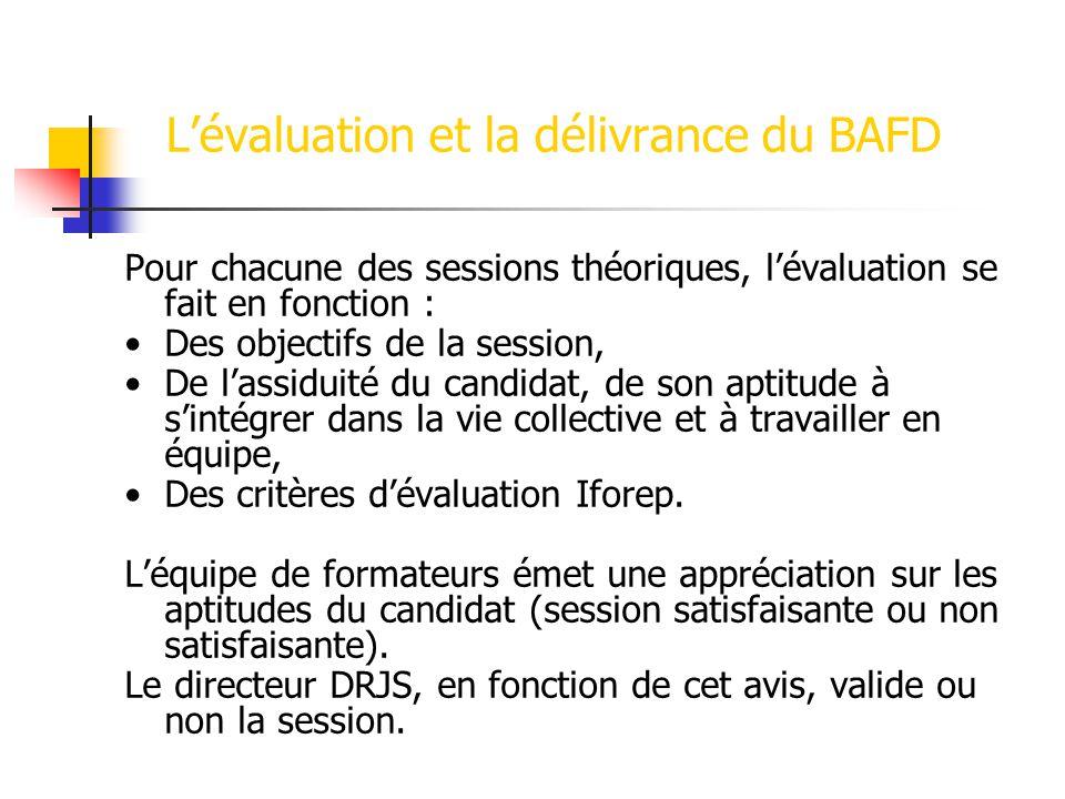 Lévaluation et la délivrance du BAFD Pour chacune des sessions théoriques, lévaluation se fait en fonction : Des objectifs de la session, De lassiduité du candidat, de son aptitude à sintégrer dans la vie collective et à travailler en équipe, Des critères dévaluation Iforep.
