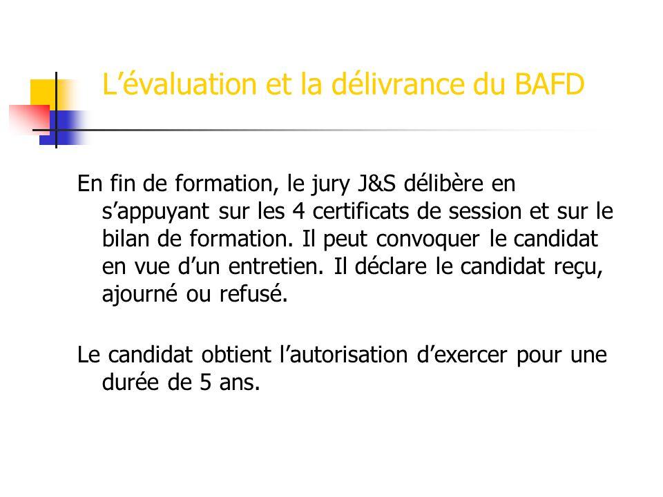Lévaluation et la délivrance du BAFD En fin de formation, le jury J&S délibère en sappuyant sur les 4 certificats de session et sur le bilan de formation.