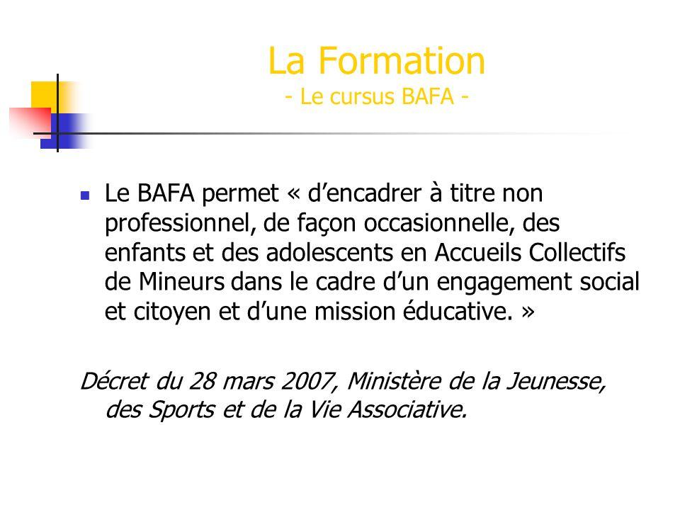 Le BAFA permet « dencadrer à titre non professionnel, de façon occasionnelle, des enfants et des adolescents en Accueils Collectifs de Mineurs dans le cadre dun engagement social et citoyen et dune mission éducative.