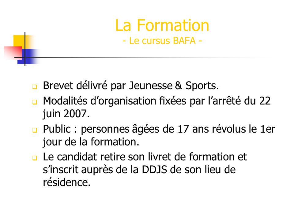 Brevet délivré par Jeunesse & Sports.Modalités dorganisation fixées par larrêté du 22 juin 2007.