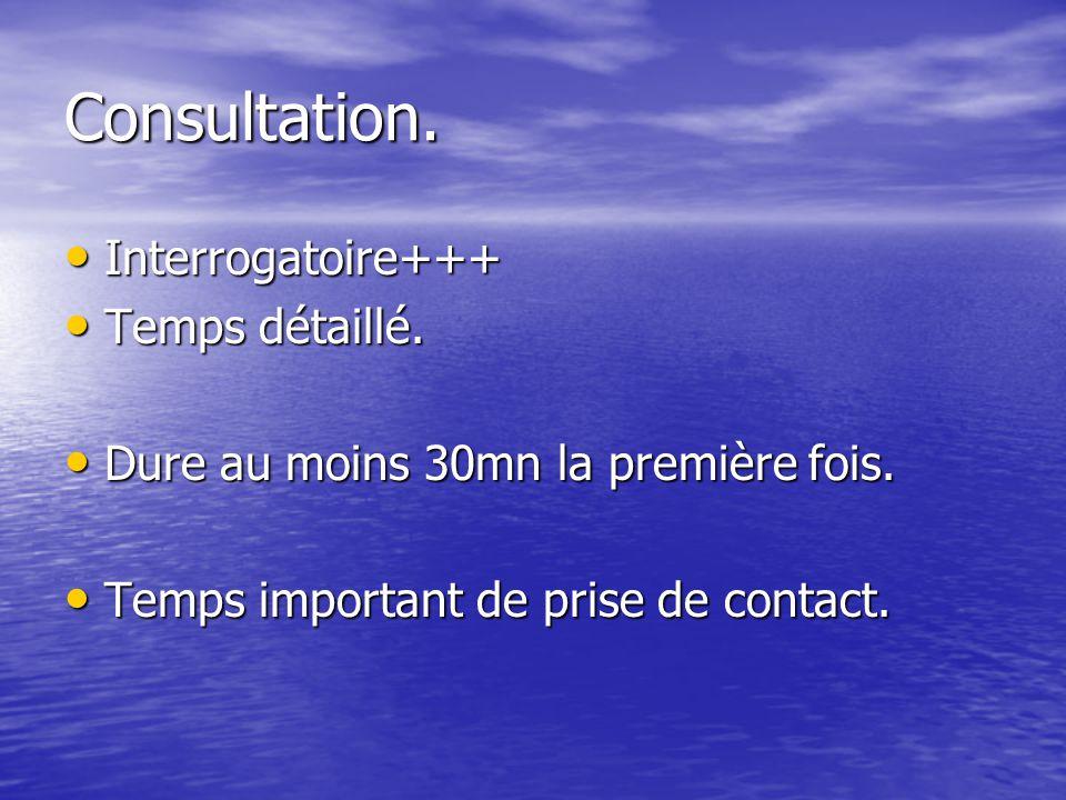 Consultation. Interrogatoire+++ Interrogatoire+++ Temps détaillé. Temps détaillé. Dure au moins 30mn la première fois. Dure au moins 30mn la première