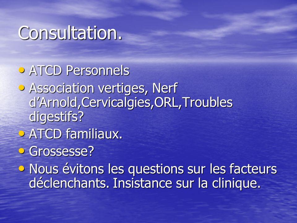 Consultation. ATCD Personnels ATCD Personnels Association vertiges, Nerf dArnold,Cervicalgies,ORL,Troubles digestifs? Association vertiges, Nerf dArno