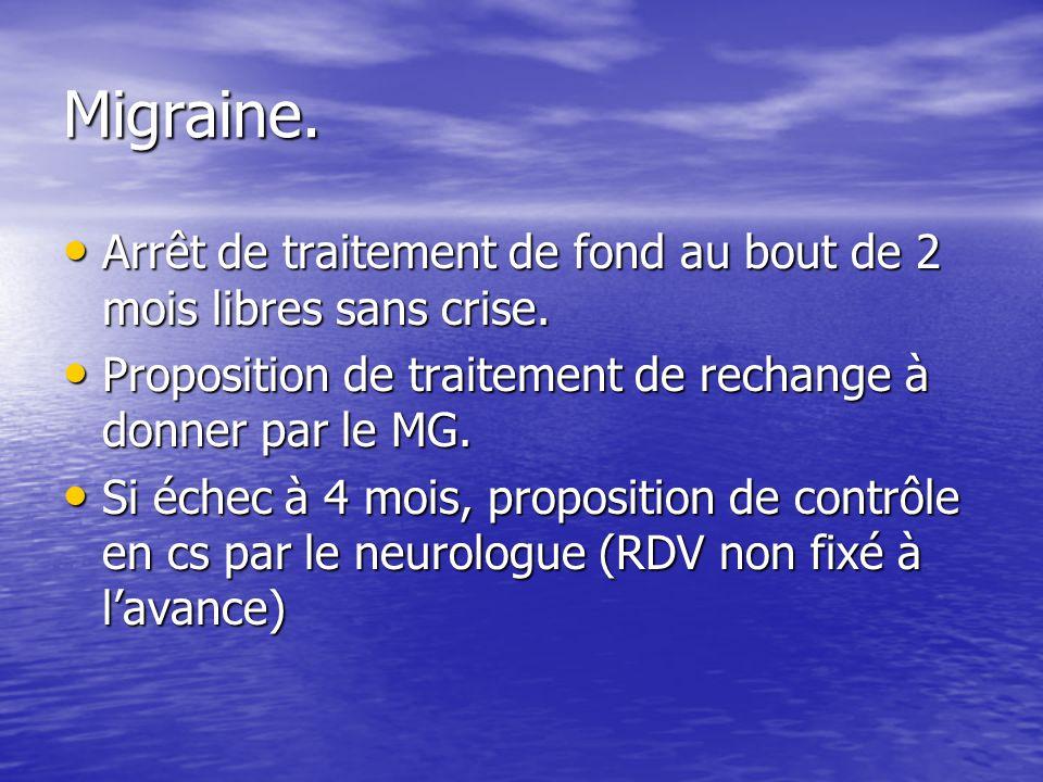 Migraine. Arrêt de traitement de fond au bout de 2 mois libres sans crise. Arrêt de traitement de fond au bout de 2 mois libres sans crise. Propositio