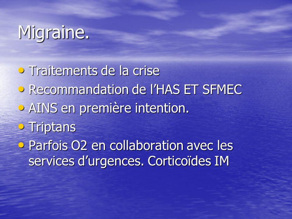 Migraine. Traitements de la crise Traitements de la crise Recommandation de lHAS ET SFMEC Recommandation de lHAS ET SFMEC AINS en première intention.