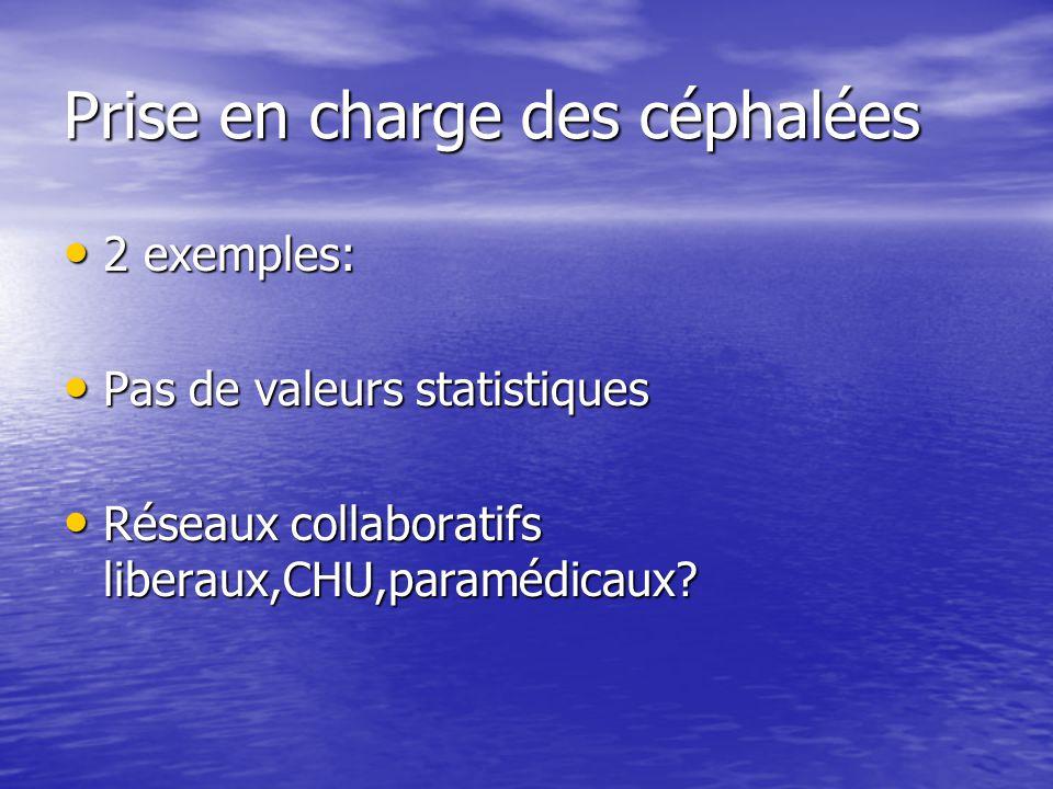 Prise en charge des céphalées 2 exemples: 2 exemples: Pas de valeurs statistiques Pas de valeurs statistiques Réseaux collaboratifs liberaux,CHU,param