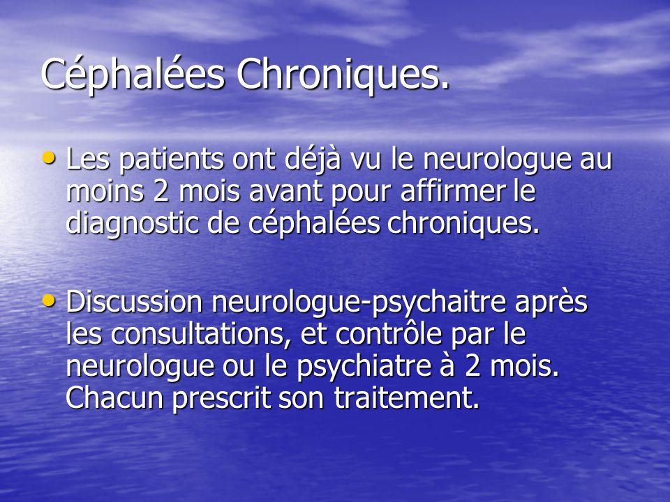 Céphalées Chroniques. Les patients ont déjà vu le neurologue au moins 2 mois avant pour affirmer le diagnostic de céphalées chroniques. Les patients o