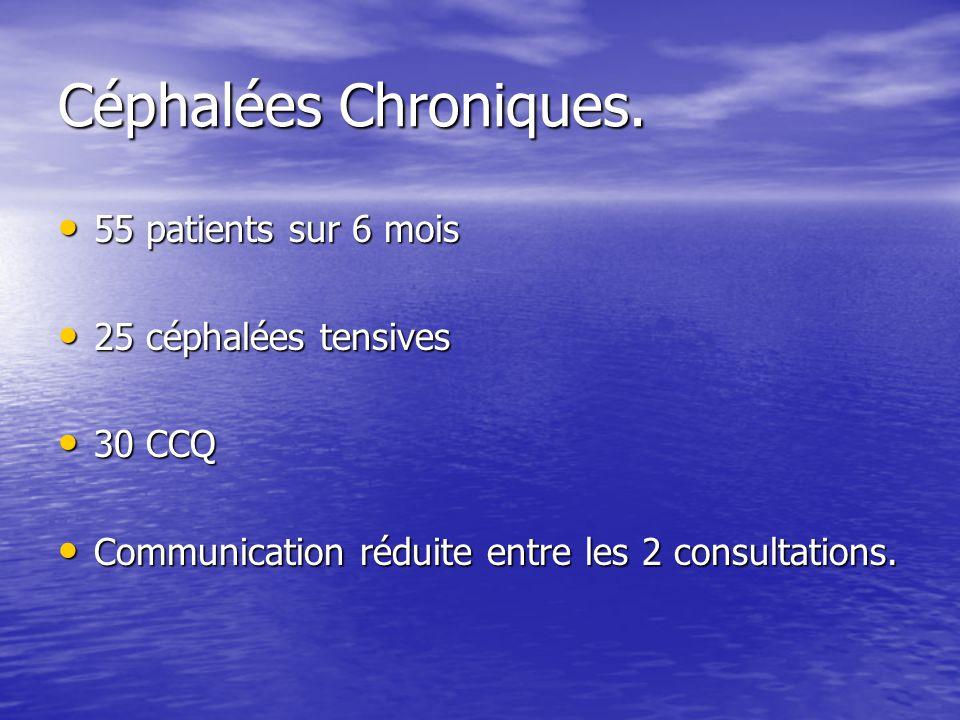 Céphalées Chroniques. 55 patients sur 6 mois 55 patients sur 6 mois 25 céphalées tensives 25 céphalées tensives 30 CCQ 30 CCQ Communication réduite en