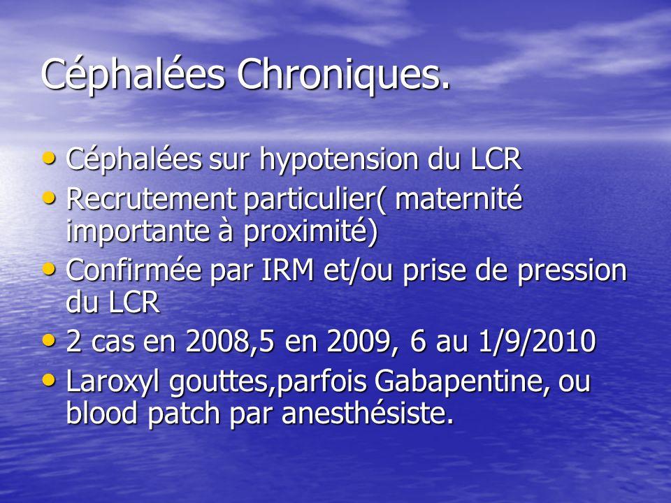 Céphalées Chroniques. Céphalées sur hypotension du LCR Céphalées sur hypotension du LCR Recrutement particulier( maternité importante à proximité) Rec