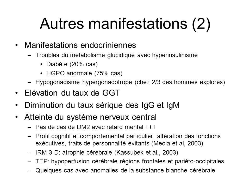 Autres manifestations (2) Manifestations endocriniennes –Troubles du métabolisme glucidique avec hyperinsulinisme Diabète (20% cas) HGPO anormale (75%