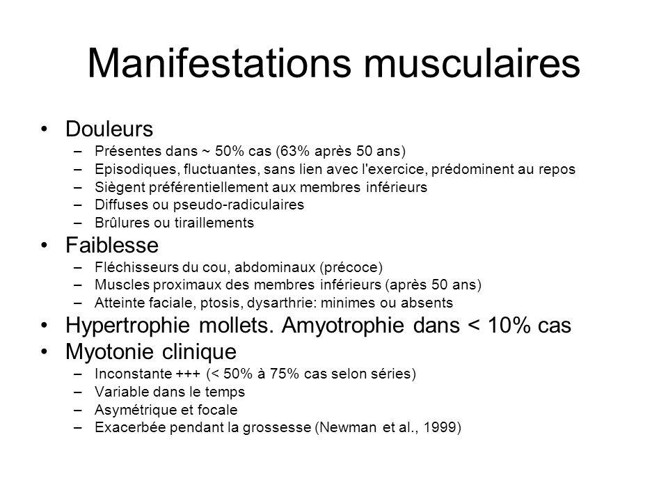 Francine DES… (26-05-1941) EMG: pas de myotonie, tracés de type myopathique CPK 1 à 2.1 N GGT 6.7 N, ASAT 1.1 N, ALAT 1.7 N, PA 1.1 N Glycémie, TSH N Diminution taux sérique IgG et IgM ECG, Holter, échocardiographie N CV et gazométrie N Gène DM1: pas de mutation Gène DM2 : > 15 Kb