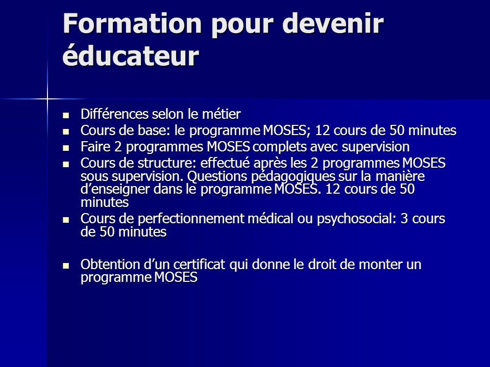 Formation pour devenir éducateur Différences selon le métier Différences selon le métier Cours de base: le programme MOSES; 12 cours de 50 minutes Cou