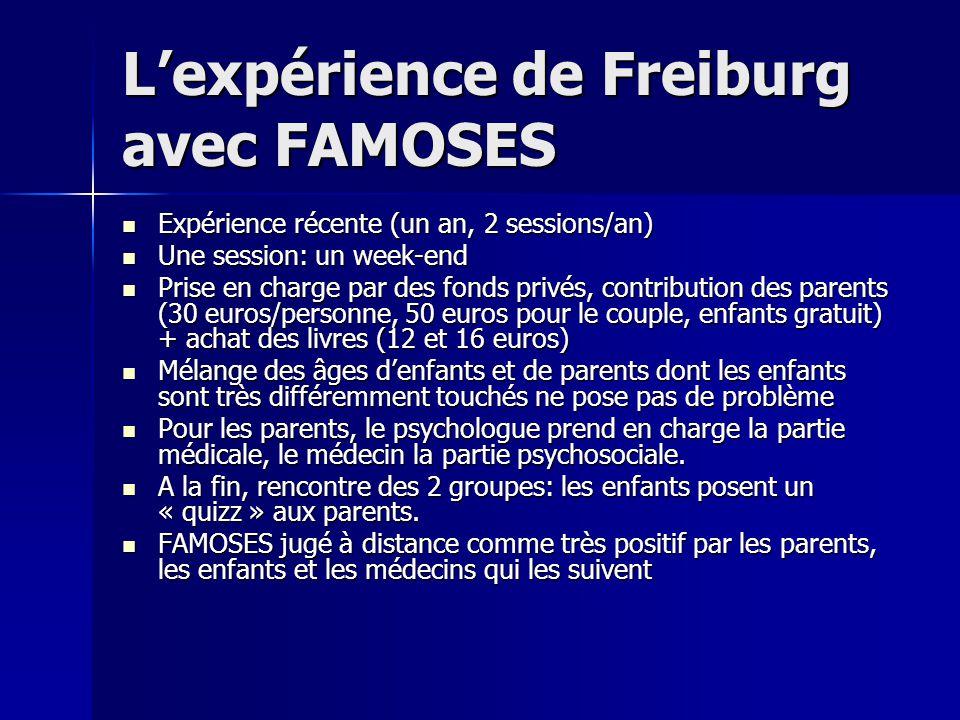Lexpérience de Freiburg avec FAMOSES Expérience récente (un an, 2 sessions/an) Expérience récente (un an, 2 sessions/an) Une session: un week-end Une