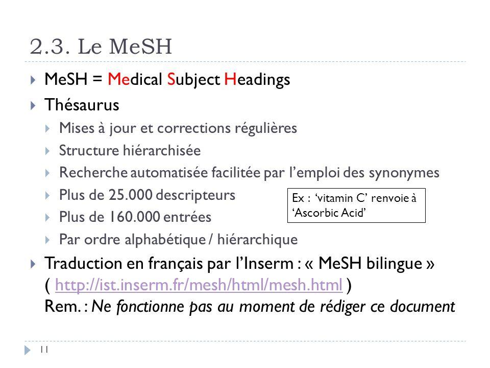 2.3. Le MeSH 11 MeSH = Medical Subject Headings Thésaurus Mises à jour et corrections régulières Structure hiérarchisée Recherche automatisée facilité