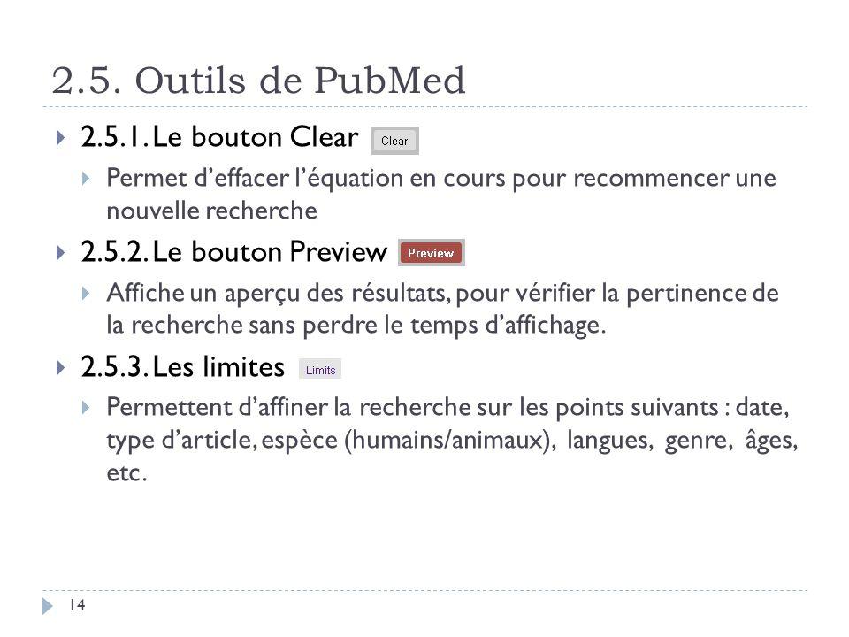 2.5. Outils de PubMed 14 2.5.1. Le bouton Clear Permet deffacer léquation en cours pour recommencer une nouvelle recherche 2.5.2. Le bouton Preview Af
