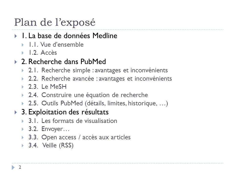 Plan de lexposé 1. La base de données Medline 1.1. Vue densemble 1.2. Accès 2. Recherche dans PubMed 2.1. Recherche simple : avantages et inconvénient