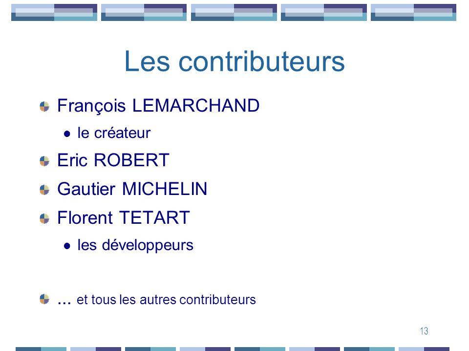 13 Les contributeurs François LEMARCHAND le créateur Eric ROBERT Gautier MICHELIN Florent TETART les développeurs... et tous les autres contributeurs