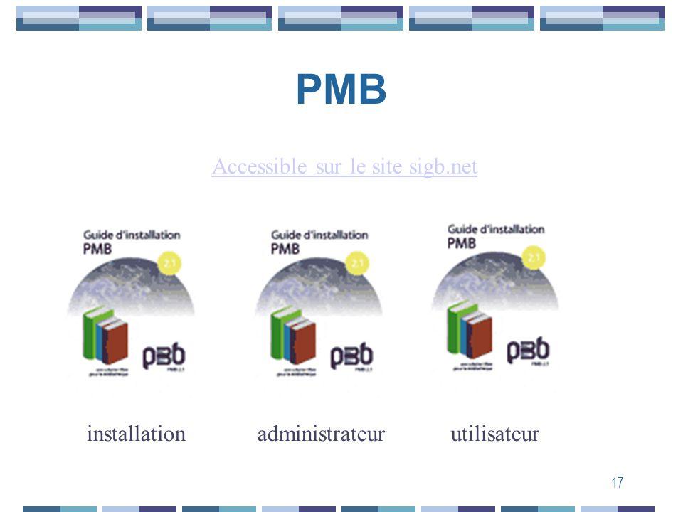 17 PMB Mailing list installationadministrateurutilisateur Accessible sur le site sigb.net