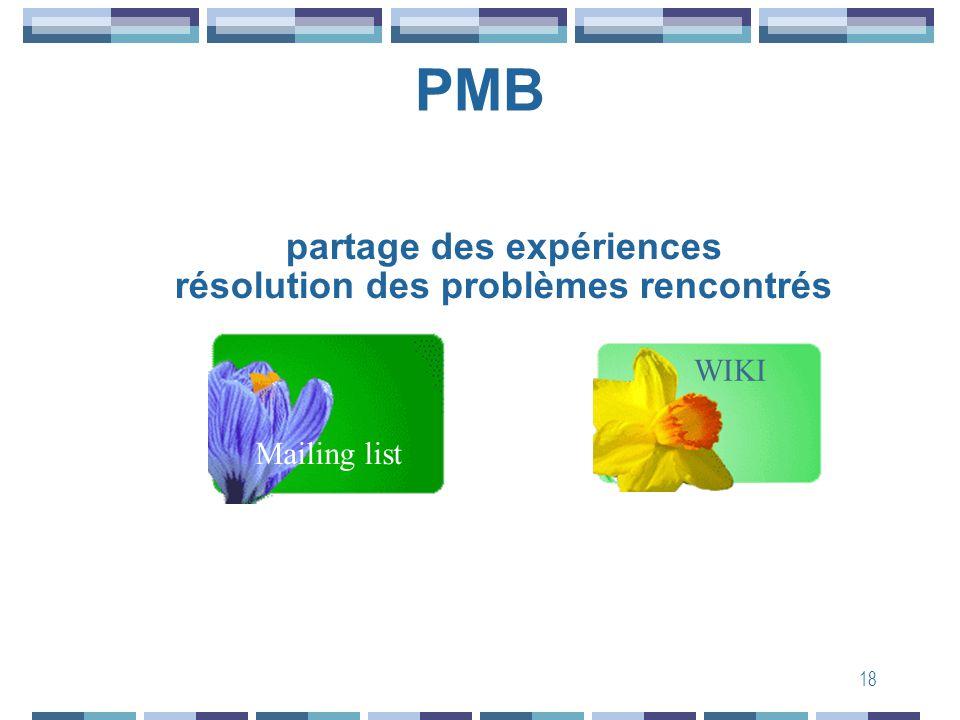18 PMB WIKI Mailing list partage des expériences résolution des problèmes rencontrés